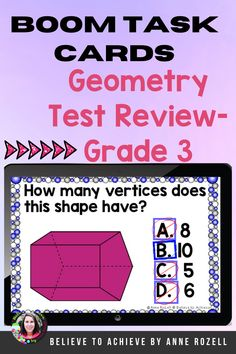 These 30 digital task cards on the BOOM™ Learning website were designed to help students practice geometry test review skills with multiple-choice question style. These digital task cards would be great on a laptop, desktop, Chromebook, tablet, or any other mobile device that can access the internet. They can even be used on your Smart Board. #math, #BOOMcards, #geometry,#distancelearning, #assessment 3rd Grade Reading, Third Grade Math, Grade 3, Geometry Test, 3rd Grade Activities, Reading Comprehension Activities, Spelling Words, Chromebook, Math Worksheets