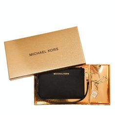 New Michael Kors Giftables Leather Wristlet & Lock Charm Key Fob Black/Gold  #MichaelKors #WristletKeychain