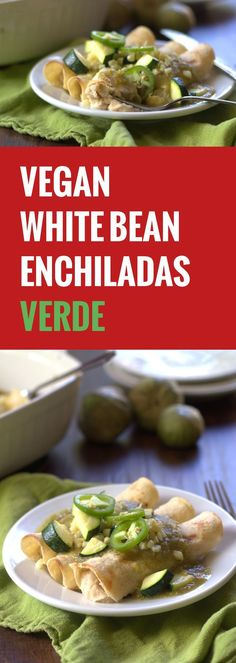 Creamy white beans are blended up, stuffed into corn tortillas and smothered in spicy tomatillo sauce to make these vegan white bean enchiladas verdes.