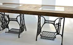 table avec pied machine à coudre singer - utilisation des cadres de machines à coude comme tréteaux pour les plateaux de bureaux ?