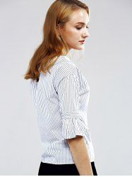 Elegant Flare Sleeve Striped Blouse For Women - STRIPE S Mobile