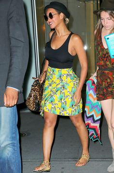 Colorful summer staples: Beyonce's bright patterned skirt