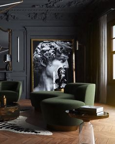 25 Popular Classic Living Room Design 2019 - Home Design Green Interior Design, Classic Interior, Classical Interior Design, Masculine Interior, Classic Home Decor, Living Room Designs, Living Room Decor, Dining Room, Living Spaces