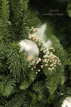 Silver, greens and whites~ Quiet Christmas Mantel