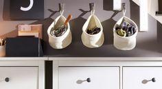 Chrocheted LIDAN baskets hung on BLECKA hooks