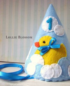 Felt Party Hat, Rubber Ducky Party Theme Hat, First Birthday Hat. $20.00, via Etsy.