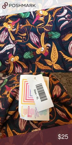 BNWT LLR Maxi Skirt This new LLR maxi is brand new and has never been worn. The design almost looks like a paisley and would be great for multiple seasons. It has a navy background with golden yellow, green and magenta flowers. 💐 LuLaRoe Skirts Maxi