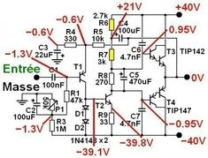 ampli ultra simple a schema 2 Electronics Projects, Electronic Circuit Projects, Electronic Kits, Electronic Schematics, Electronics Components, Electronic Engineering, Simple Circuit, Ab Circuit, Tesla Free Energy