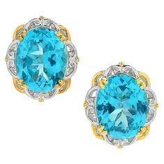156-920 - Gems en Vogue 6.24ctw Oval Paraiba Color Topaz Scalloped Stud Earrings