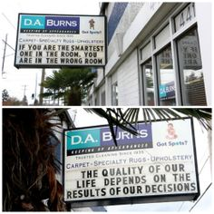February 2014 readerboard messages at D. A. Burns in Ballard -- 4411 Leary Way NW 98107