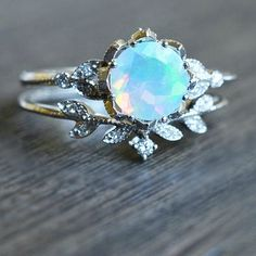Diamond & Moonstone Ring Set | MichelliaDesigns on Etsy