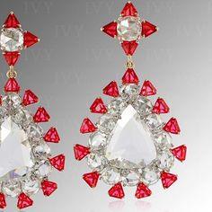 Rose cut Diamonds and Angel cut Spinels from Mogok! I Love Jewelry, High Jewelry, Jewelry Design, Ruby Earrings, Stone Earrings, Gemstone Jewelry, Diamond Jewelry, Mogok, Red Spinel