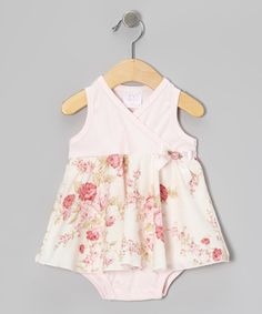 Take a look at this Pink Floral Surplice Skirted Bodysuit by Too Sweet on #zulily today!