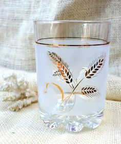 Frosted Ice Bucket Gold Leaf Wheat Pattern by TrellisLaneVintage