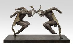 """THE STAG FIGHT"" - a Bronze Sculpture by Female British Sculpture Bushra Fakhoury"