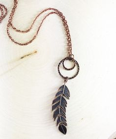 Look at this Blue & Copper Feather Pendant Necklace on #zulily today!