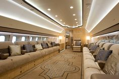 Boeing Business Jets developed the BBJ 3 on the but was outfitted with custom VIP interiors at Jet Aviation in Basel, Switzerland. Boeing Business Jet, Jet Aviation, Private Jet Interior, Private Plane, Private Jets, Contemporary Cabin, Luxury Jets, Aircraft Interiors