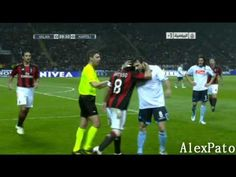 2011. Gattuso misses the ball. Dossena shakes Gatto's head as a joke and referee was about to call a foul. But Gattuso stops him explaining it was only a joke.