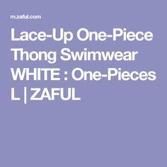 Lace-Up One-Piece Thong Swimwear WHITE : One-Pieces L   ZAFUL