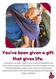 Please consider giving just one of the people on your holiday shopping list either a convenient and thoughtful eCard, a beautiful hand-stamped bag, containing a card honoring your recipient, from CleanBirth.org.