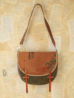 Free People Vintage Painted Leather Messenger Bag