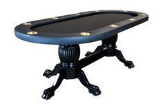 The Elite poker table measures in at 94in x 44in x 30in and features a sunken playing area. There is a depth of two inches from the top of the armrest to the playing surface. The new sunken playing area adds a distinct element to play, giving the playing surface a pit feel. - Click Image for pricing and availability
