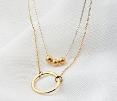 Gold two necklace set Layering necklaces Gold by HLcollection