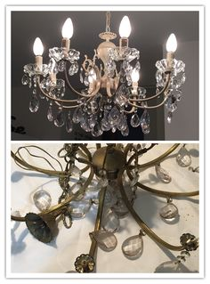 Before and After. New life to an old chandelier.