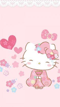 Hello Kitty Live Wallpaper, Walpaper Hello Kitty, Hello Kitty Themes, Hello Kitty Backgrounds, Pink Hello Kitty, Hello Kitty Pictures, Sanrio Hello Kitty, Iphone Backgrounds, Black Kitty