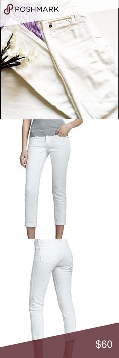 "AG FOR ANTHROPOLOGIE, Stevie Slim Straight, 28 AG STEVIE SLIM STRAIGHT FOR ANTHROPOLOGIE   size 28  White jeans hardly worn.  Waist is 16"" and inseam is 31"".  EUC AG Adriano Goldschmied Jeans Straight Leg"