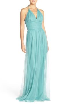 Free shipping and returns on Amsale 'Astrid' Tulle Empire Waist Halter Gown at Nordstrom.com. Pleated tulle creates a dreamy-soft look for a captivating gown designed to spotlight luminous décolletage and a lovely back. A wide Empire waist slims and elongates the figure before the skirt tumbles in a goddess-worthy column to floor-puddling length.