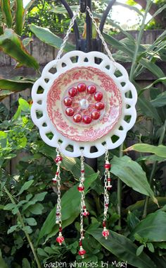 Sun CatcherDangle Red and White Toile by GardenWhimsiesByMary, $45.00