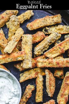 These baked eggplant fries are the perfect appetizer for a crowd! Velvety tender on the inside and crispy on the outside. Serve them with a side of Greek tzatziki sauce. Recipe from TheMediterraneanD… - Baked Eggplant Fries with Greek Tzatziki Sauce Appetizers For A Crowd, Vegetarian Appetizers, Appetizer Recipes, Vegetarian Recipes, Cooking Recipes, Healthy Recipes, Healthy Eggplant Recipes, Dinner Recipes, White Eggplant Recipes