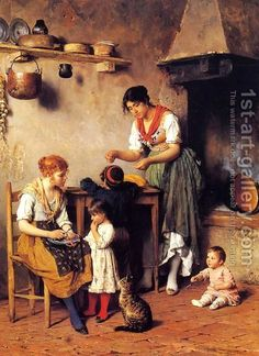 Eugene de Blaas (Italia, 1843-1932). Mother's Little Helper.