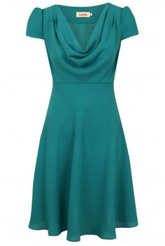 This dress is kind of a cross between 1930s and 1940s styles with a touch of modern. Great color!