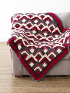 Free Crochet Pattern~ Graphic Squares Afghan (intermediate level)