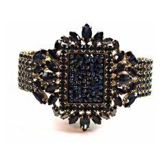Otazu Royal Black Swann Bracelet (510 CAD) ❤ liked on Polyvore featuring jewelry, bracelets, blue, cuff bangle bracelet, blue jewelry, otazu bracelet, cuff bangle and sparkle jewelry