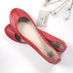 Red Soft Leather Handmade Ballerinas  Size 41 Ready by elehandmade, $108.00