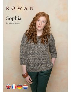 """Sophia Pullover Kit - priced from $112.50 to $175.00. """"This knitting pattern has a round neck, garter stitch edgings and three quarter length sleeves."""""""