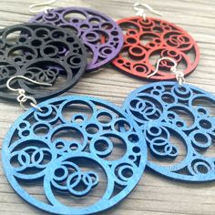 Green Tree Jewelry Earrings Circles N' Circles Laser-Cut Wood Choose Color 1002