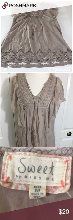 Miss Me lace trim hobo Chic blouse Beautiful bell flowing sleeves. Tan/gray colored. Colors may vary slightly to lighting and photos. No holes, rips or stains. ❌Smoke and pet free home. ⚡️Same/next day shipping. 💲Save by bundling or make a reasonable offer through the offer button. 🚫No trades or modeling. 📦Wrapped and shipped with care. 🎁Includes free gift. Miss Me Tops Blouses