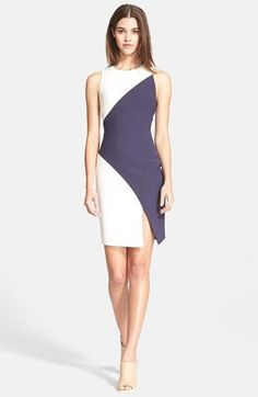 Elizabeth and James 'Klein' Colorblock Stretch Knit Dress. Contoured color blocking cuts a flattering figure in this sophisticated and streamlined dress finished with an alluring thigh-high slit. Dresses For Teens, Cute Dresses, Beautiful Dresses, Short Dresses, Fashion Mode, Fashion Art, Fashion Design, Workwear Fashion, Fashion Blogs