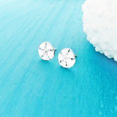 Sand Dollar Stud Earrings in Sterling Silver