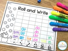 We love to play roll and write- it's one of our favorite kindergarten sight word activities. Best of all, it's editable so I can type in the sight words my kindergarten students need! Kindergarten Lesson Plans, Homeschool Kindergarten, Kindergarten Reading, Preschool Learning, Learning Activities, Kindergarten Sight Word Games, Homeschooling, Art Activities For Kindergarten, Kindergarten Literacy Centers