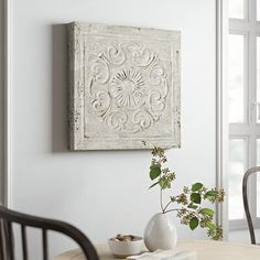 null Add texture to your gallery wall or create an elegant focal point in the dining room with this lovely wall decor, showcasing a rosette design and weathered finish. Metal Wall Panel, Wooden Wall Panels, Wooden Wall Decor, Wooden Walls, Metal Walls, White Shiplap Wall, Wall Decor Online, Medallion Wall Decor, Ship Lap Walls