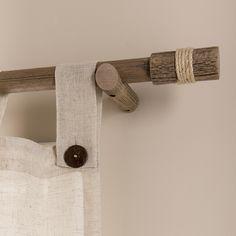 Wood Curtain, Curtain Rails, Rustic Curtains, Diy Curtains, Living Room Interior, Home Interior Design, Indian Room Decor, Curtain Inspiration, Rideaux Design