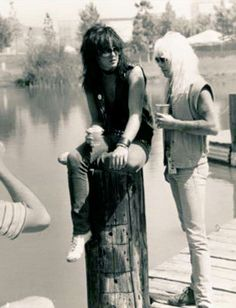 """""""Casual throwback to the US Festival in 1983 with Vince.  Love the simplicity of this photo and the innocence of what was about to happen to Motley Crue and how our lives were about to change forever.Wish I could find the photographer and get a nice print of this to frame and put in our home."""" Nikki Sixx"""