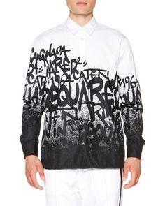 Graffiti-Print Button-Down Shirt, White/Black, Men's, Size: 46 - Dsquared2