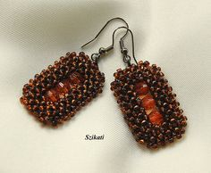 Beaded brown seed bead Right Angle Weave earrings OOAK by Szikati, $35.00