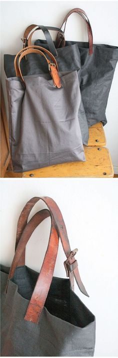 Thrift store belt used as straps on tote